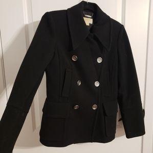 MICHAEL KORS Black Wool Double Breasted Peacoat
